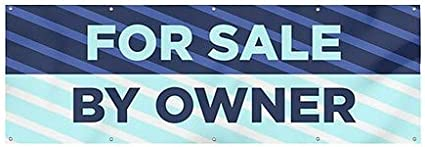 12x4 CGSignLab Stripes Blue Wind-Resistant Outdoor Mesh Vinyl Banner for Sale by Owner