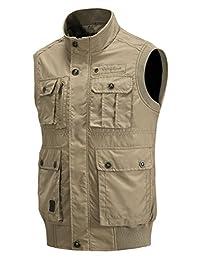 Jinmen Men's Military Outdoors Travel Sports Pockets Vest Sleeveless Jacket Tops