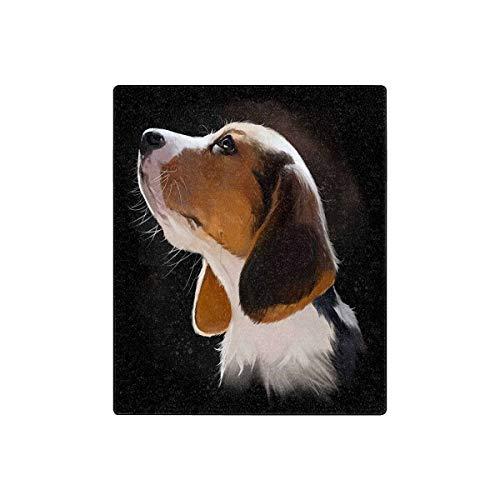 Beagle Fleece - InterestPrint Beagle Puppy Portrait Watercolor Painting Fleece Blanket Lightweight Cozy Plush Blanket 50