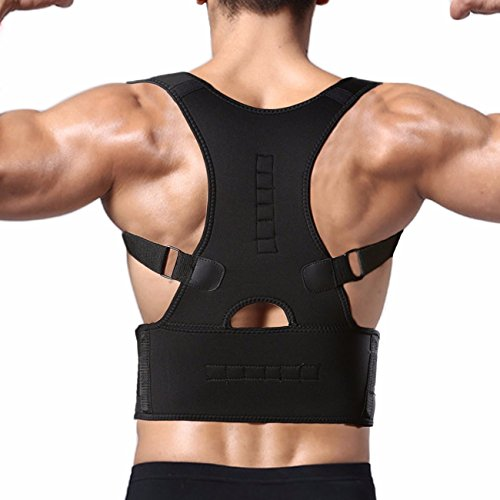 FITTOO Magnetic Adjustable Clavicle Shoulder Lumbar Back Support Brace for Posture Correct and Back Pain Black (Magnetic Shoulder Collar)