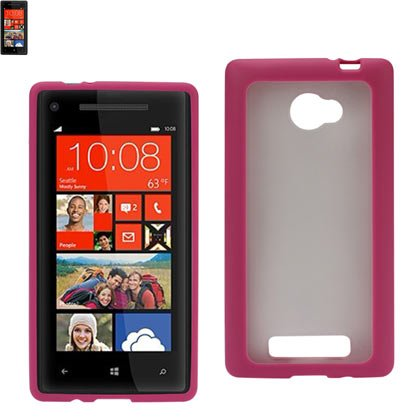 Reiko PP-HTC8XHPK Hybrid Gummy PC/TPU Slim Protective Case for HTC Windows Phone 8x - 1 Pack - Retail Packaging - Hot Pink