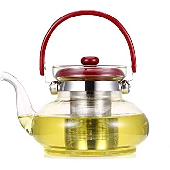 40 oz Premium Glass Teapot with Removable Infuser, Blooming and Loose Leaf Tea Pots, 1200ml Tea Kettle