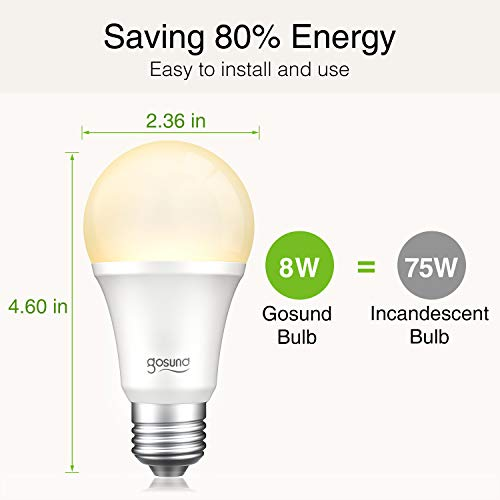 Gosund Smart Light Bulb 75W Equivalent E26 8W Works with Alexa Google Home A19 LED Bulb Dimmable Bulb, 2.4Ghz WiFi Only, No Hub Required Warm White