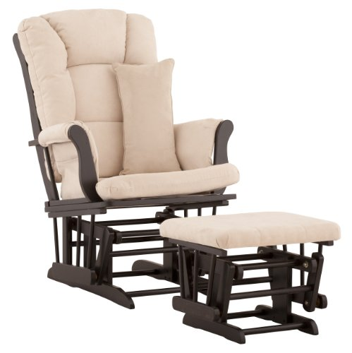 Stork Craft Tuscany Custom Glider and Ottoman with Free Lumbar Pillow, Black/Beige by Stork Craft