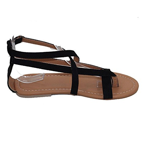 Sunsee Ladies Flat Wedge Espadrille Rome Tie up Sandals (38, Black)