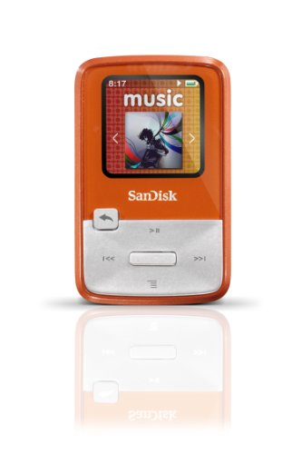 SanDisk Sansa Clip Zip 4GB MP3 Player, Orange With Full-Color Display, MicroSDHC Card Slot and Stopwatch- SDMX22-004G-A57O (Discontinued by Manufacturer) (Sansa Zip Clip 4gb)