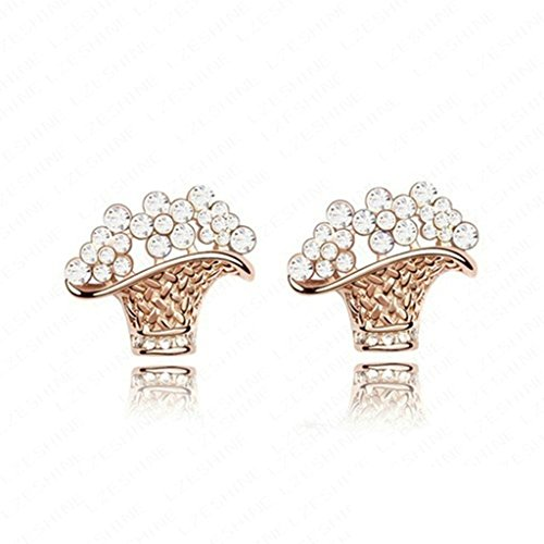 The Lion King Broadway Costumes (18K Gold Plated Womens Girls Stud Earrings Flower Basket Ear Wrap White - Aooaz Jewelry)