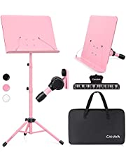 $28 » CAHAYA Dual-use Sheet Music Stand & Desktop Book Stand Metal Portable Solid Back with Carrying Bag, Sheet Music Folder & Clip, Projector Stand, Laptop Stand, Bible Book Stand, Tablet Stand