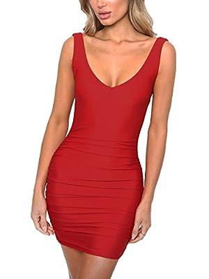MISFONDLE Women's Sexy Bodycon V Neck Backless Pleated Strap Mini Club Dress