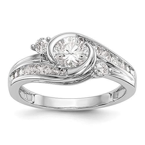 14k White Gold Diamond Bezel Semi-Mount By-Pass Engagement Ring Size 7 Length Width