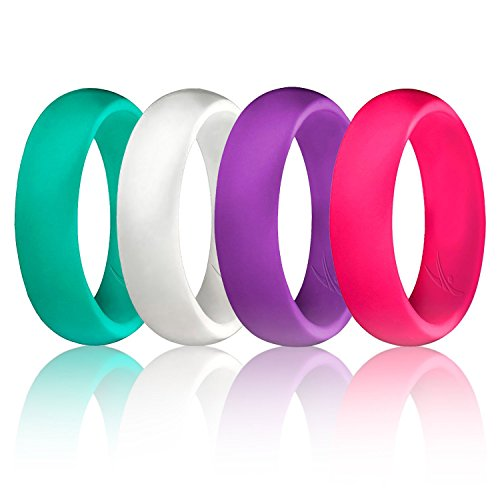 ROQ Silicone Wedding Ring for Women, Set of 4 Silicone Rubber Wedding Bands - Turquoise, White, Pink, Purple - Size 11 (Lightweight Plain Wedding Band)