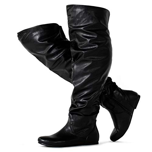 RF ROOM OF FASHION Wide Calf Women's Stretchy Over The Knee Slouchy Boots Black PU (9) ()