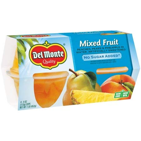 No Sugar Added Mixed Fruit, 4 oz Cup, 4 Count Box - 5 Pack