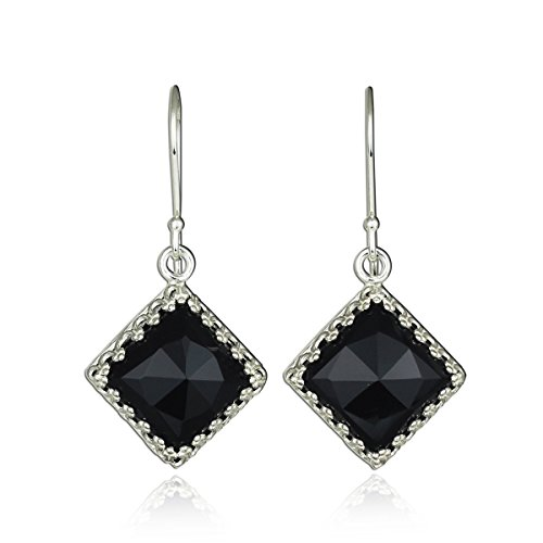 Onyx Diamond Earrings Drop And (Ornate Diamond Shaped 925 Sterling Silver Earrings with Square Black Onyx Gemstone)