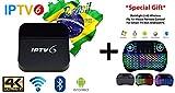 IPTV6+ PLUS Edition 4K Ultra HD HTV6+ possui mais de 200 canais de TV, muitos deles em UHD e Bluetooth, Android 5.1 e muitos canais de entretenimento, infantis, esportivos, filmes e séries