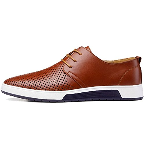 Zzhap Men's Casual Oxford Shoes Breathable Flat Fashion Sneakers Brown US 11.5