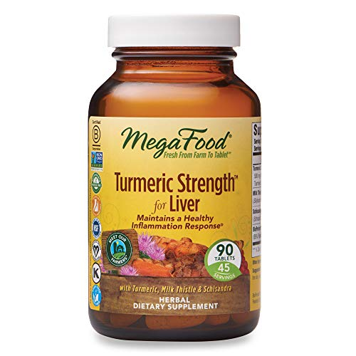 MegaFood, Turmeric Strength for Liver, 90 Tablets, Maintains a Healthy Inflammation Response, Vitamin and Herbal Dietary Supplement Vegan, 45 Servings