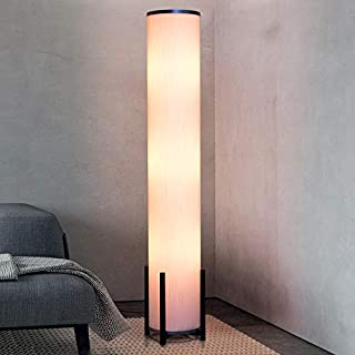 Amumo Floor Lamp Column Floor Lamps 61-Inch Tall LED Modern Standing Lamp for Living Room bedrooms with 3 Bright Lighting Bulb 9W, White Fabric Shade, Wood Base, Silver Decorative
