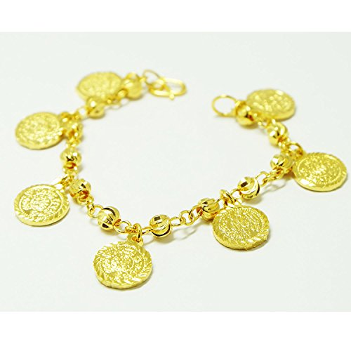 22k Yellow Gold Bangles (Coins Bracelets Bangle 18k 22k 23k 24k Thai Baht Yellow Gold Plated)