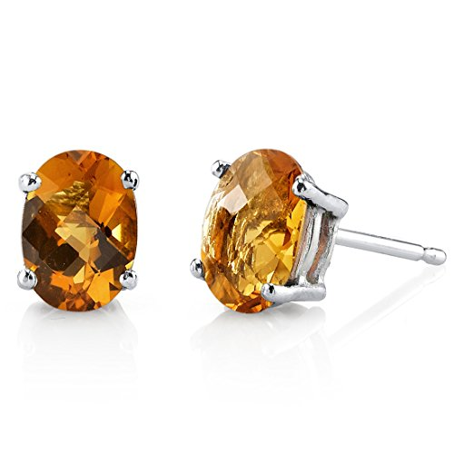 14 Karat White Gold Oval Shape 1.5 Carats Citrine Stud (Brilliant Cut Citrine Earrings)