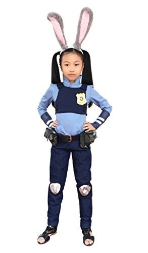 Denim Vest Costume (DAZCOS Child Size Rabbit Judy Hopps Kids Cosplay Costume With Ears+Tail(Child S))