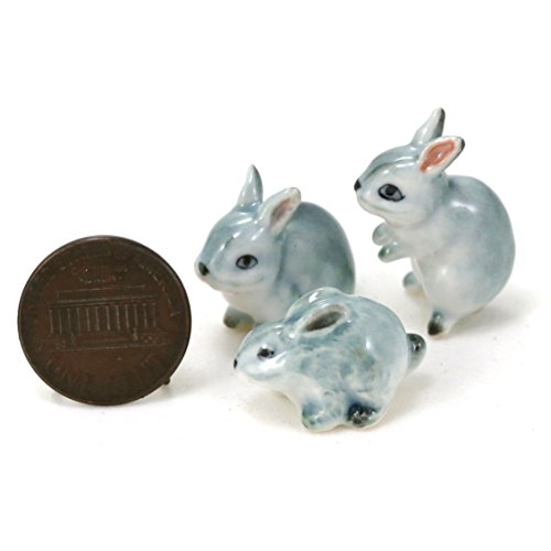 3 Gray Rabbits Bunny Ceramic Miniature Animal Figurine, used for sale  Delivered anywhere in USA