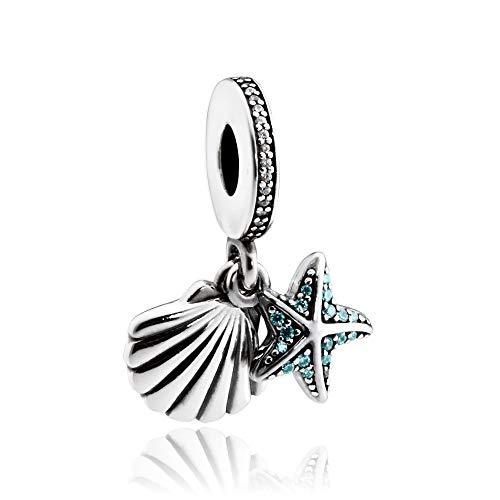 Pandora Tropical Starfish & Sea Shell Silver Dangle Charm 792076CZF