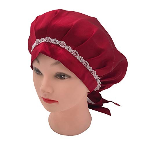 SUPERLIKE Mulberry Silk Women Night Cap Traceless Lace Edge Pure Silk Soft Chemotherapy Cap Head Cover Wine Red Color ()
