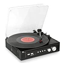 1byone Belt-Drive 3-Speed Mini Stereo Turntable with Built in Speakers, Supports Vinyl to MP3 Recording, USB MP3 Playback, Stereo Headphone Jack, Pitch Control and RCAOutput, Black