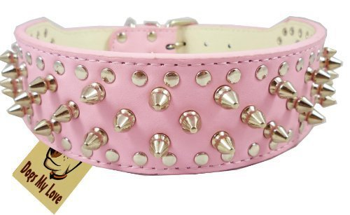 """17""""-20"""" Pink Leather Spiked Studded Dog Collar 2"""" Wide, 31 Spikes 52 Studs"""