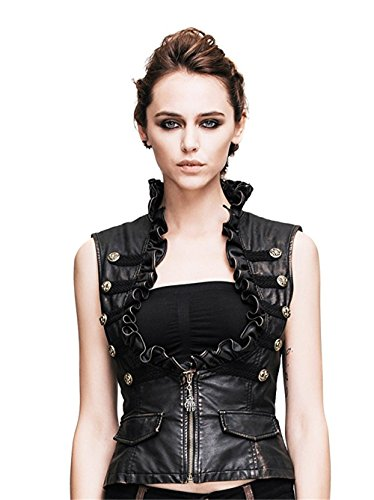 Katoot@ steampunk gothic punk slim fit sleeveless vest leather female jacket coat (L, Black)