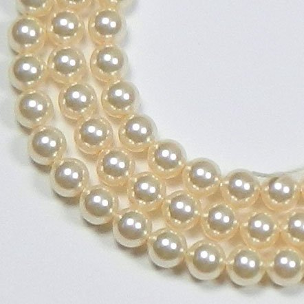 (200 Swarovski Crystal Glass Pearls 3mm Round Beads (5810). 24 Inch Loose Strand (Cream))