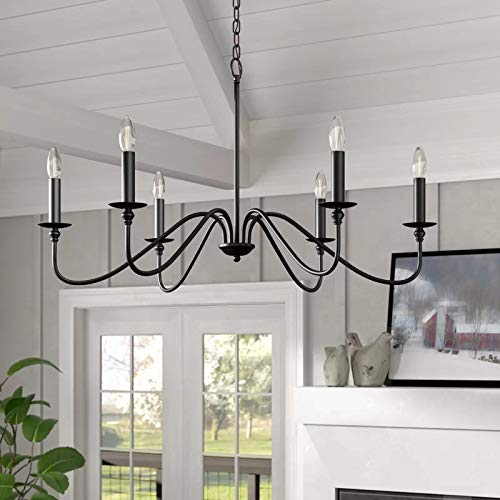 Saint Mossi 6-Lights Black Painted Chandelier Lighting 33 inches Length