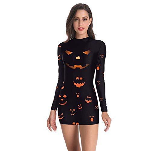 FEDULK Womens Halloween Costume Dress Punk Skeleton Bloodstain Print Long Sleeve Party Prom Mini Dress(Black2, X-Large) -