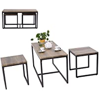 SKB family 3 Piece Nesting Coffee & End Table Set Wood Modern Living Room Furniture Decor