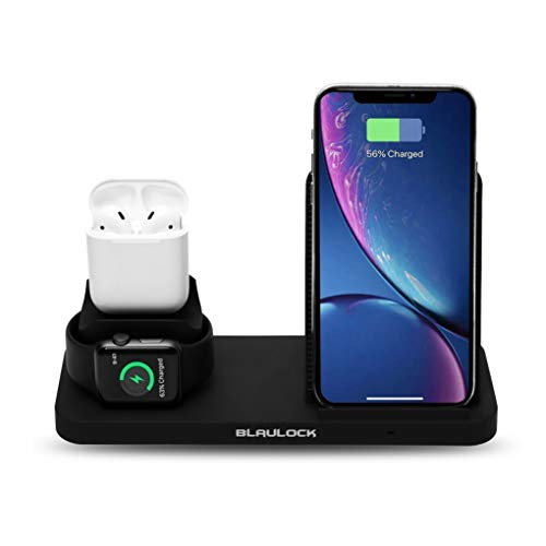 Blaulock 3 in 1 Charging Station,Replacement Charger for AirPods & iWatch ,Qi-Certified Wireless Charger for iPhone Xs MAX/XR/XS/X/8 Plus/8 & All Qi-Enabled Phones(Black)