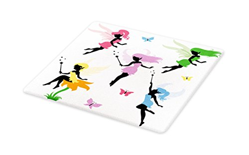 Ambesonne Fantasy Cutting Board, Cute Pixie Spirit Elf Fairies Flying with Butterflies Girls Princess Flowers Design, Decorative Tempered Glass Cutting and Serving Board, Small Size, - Cutting Table Pixie