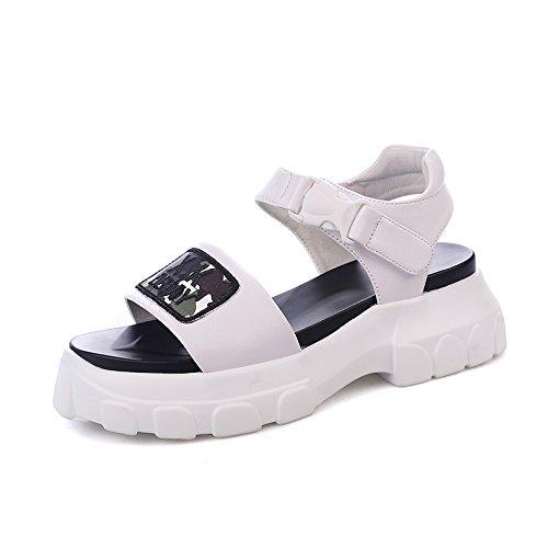 Chaussures Sandales Été Mode Sandales QQWWEERRTT Nouvelle Femmes Vintage Étudiant Sport Chaussures Coussin blanc Plate Universelle Forme tqUvv4w
