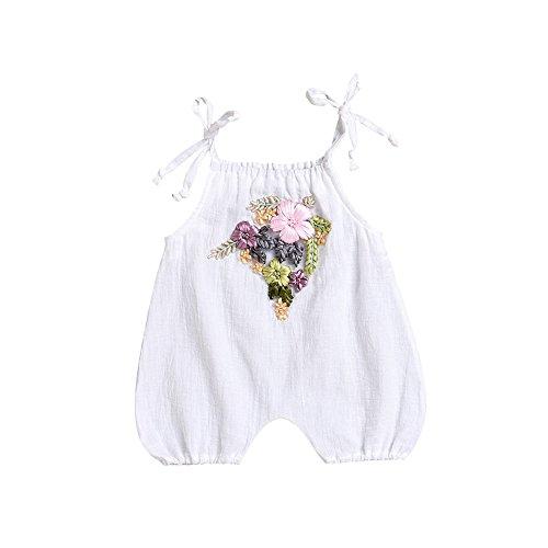 Mikrdoo Newborn Baby Girl Clothes Sleeveless Sling White Romper Handmade Flowers Bodysuit for Toddler Baby Girl