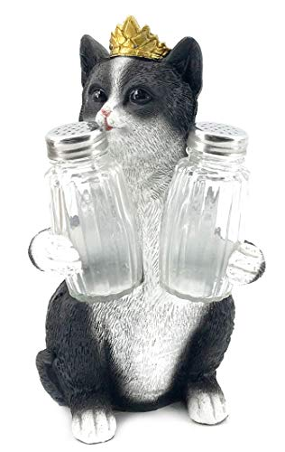 - Bellaa 20126 Decorative Black & White Kitty Cat Glass Salt and Pepper Shaker Set with Holder Figurine in Kitten Statues & Sculptures and Pet Kitchen Table Decor Gifts for Cat Lovers