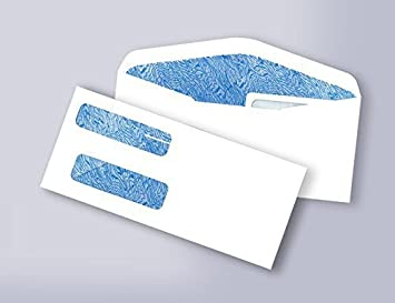 #9 Double Window Security Business Envelope 100//Pack White