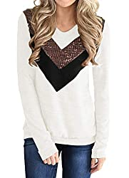 Y-beige Casual Long Sleeve Pullover Shirt With Sequins