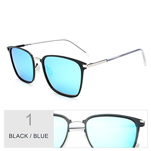 gafas sol gafas hombres Classic Sunglasses para Oro TL luces sesgados delgado Square Blue Negro de de ultra conducción Black de gris PXfqtS1x