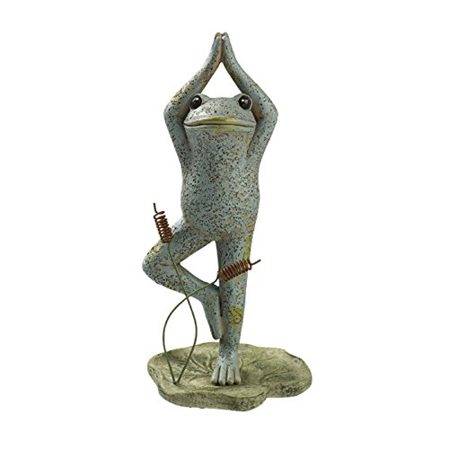 Grass Lands USA Overhead Tree Pose Yoga Frog on Lily Pad 5 Inch Resin Stone Tabletop Figurine