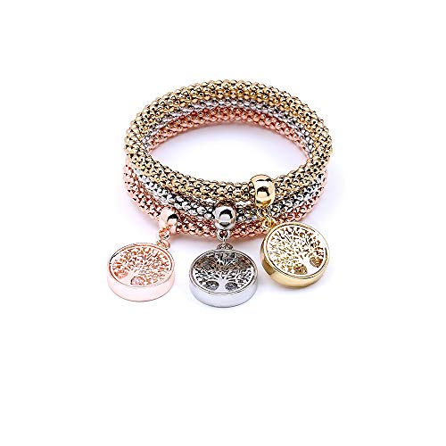 MEIDIJINGBEI 3PCS Silver Rose Gold Corn Chain Crystal Charms Multilayer Anchor Bracelets for Women Jewelry (Life Tree)