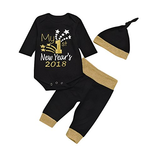Baby Boy Girl Christmas Clothes My 1st First New Year's 2018 Romper Tops + Black Pant + Hat 3pcs Xmas Outfits Set (Black, 70/0-3Months)