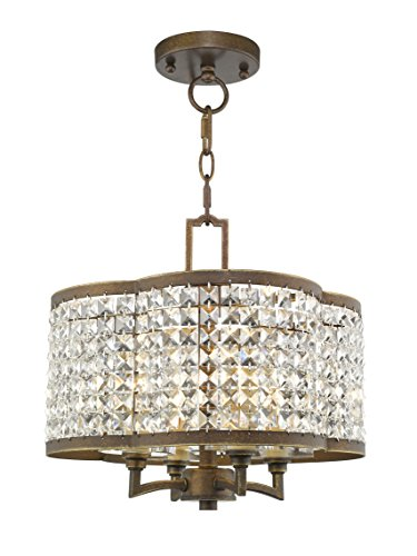 Livex Lighting 50574-64 Gramercy 4-Light Convertible Mini Chandelier/Ceiling Mount, Hand Painted Palacial ()