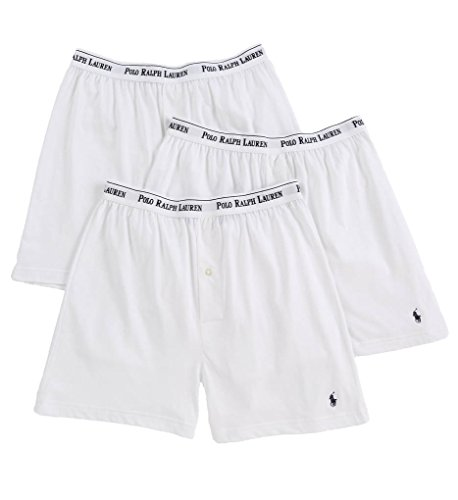 (Polo Ralph Lauren Classic Cotton Knit Boxer 3-Pack, M, White)
