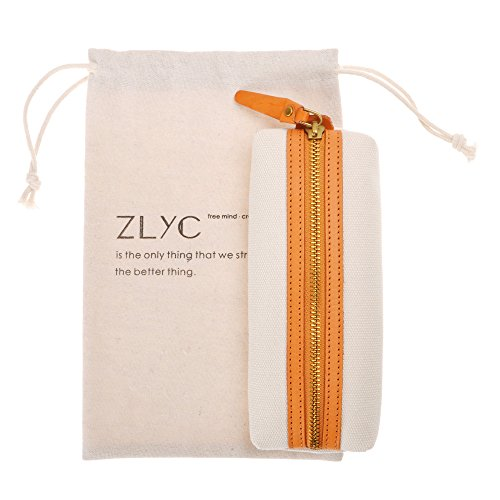 Slim Canvas Pencil Pouch Pen Bag Stationery case Gadget Bag Small Storage Bag(Beige) by ZLYC (Image #5)