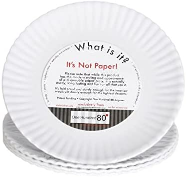 What Is It Reusable White Appetizer Or Dessert Plate 6 Inch Melamine Set Of 4 Kitchen Dining Amazon Com
